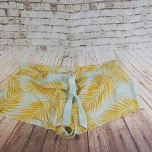 Victoria Secret Yellow Palm Leaf & Blue Shorts